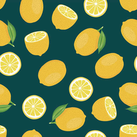 Citrus seamless  of whole lemon with leaves and lemon slices.