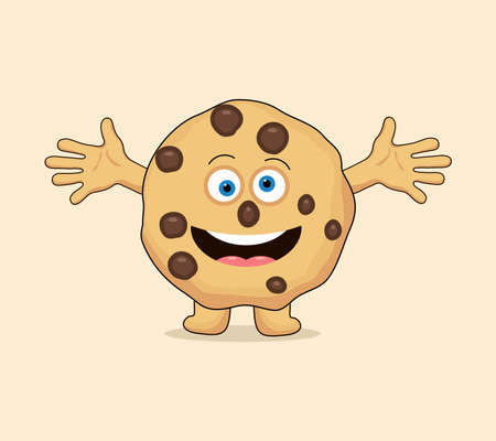 vector chocolate chip whole cookie cartoon isolated on white background. funny homemade biscuit choc cookie symbol. flat cookie clipart Illusztráció