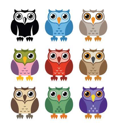 Black and white and colorful owl icons isolated on white Illusztráció
