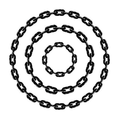 Set of black and white metal chain borders.