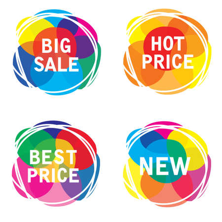 Sale offer labels isolated on white