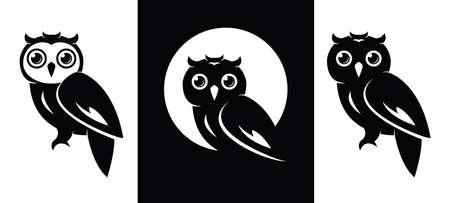 Owl icons isolated on white Illusztráció