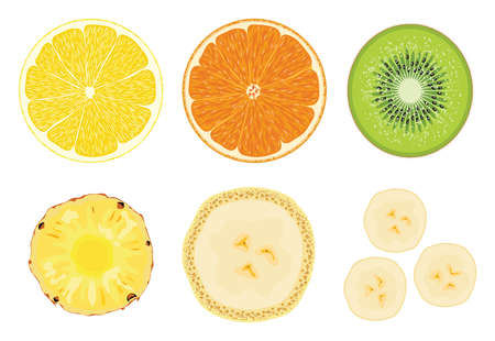 vector collection of fruit cuts isolated on white background. slice of lemon, orange, kiwi, pineapple and banana. half cut of fresh fruits for food illustrations