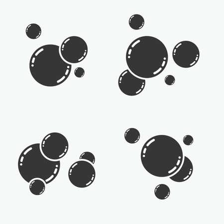 Set of soap bubbles isolated on white Illusztráció
