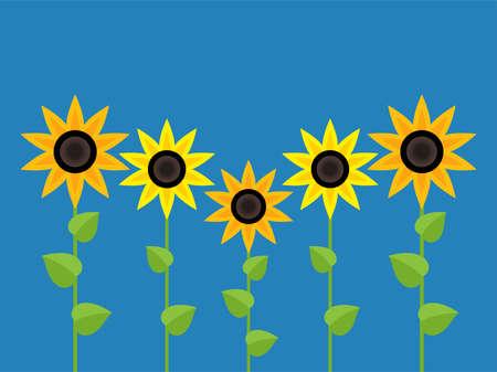 vector sunflower symbols isolated on blue background. summer garden flat illustration. group of flowering sunflowers
