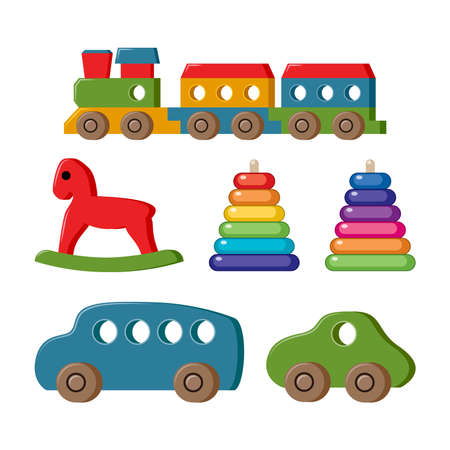 vector set of toys for kids. collection of child toy cartoons. flat icon design for game play illustration