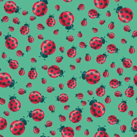 Red ladybird cartoon symbols on green
