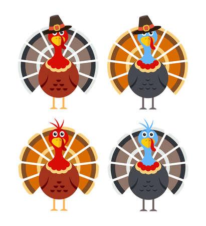 Cartoon turkey birds for thanksgiving day Imagens - 129389525