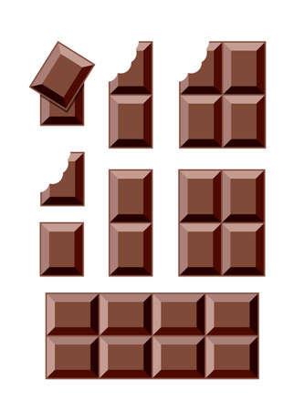 Chocolate bar pieces isolated on white Imagens - 129389523