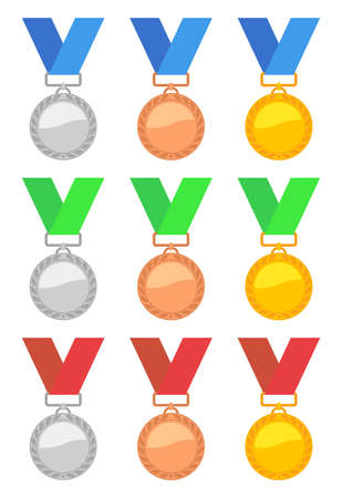 Set of gold, silver and bronze medals with blue, green and red ribbons. Imagens - 129389532