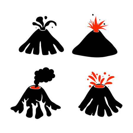 Set of volcano icons isolated on white