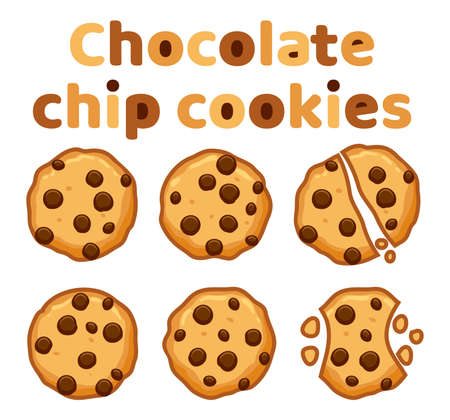 Set of chocolate chip whole, broken and bitten cookies isolated on white Illustration
