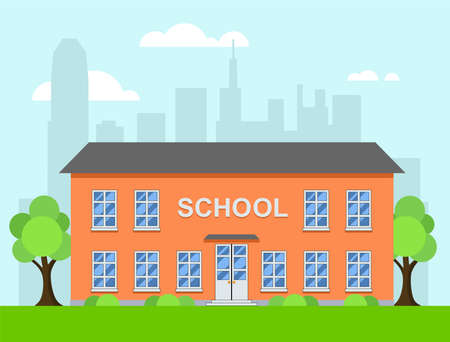 Cartoon  of school building in a city