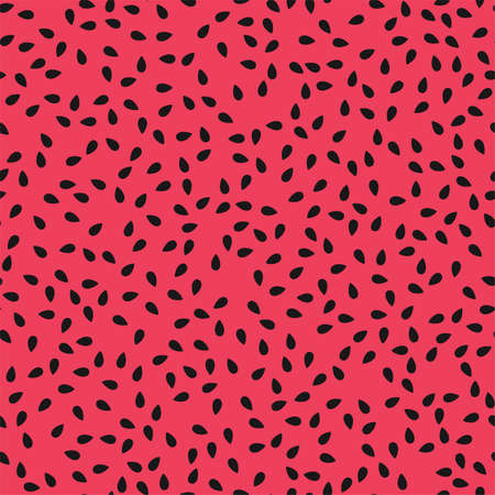 vector red watermelon seamless pattern with black seeds. abstract watermelon seamless background illustration Ilustração