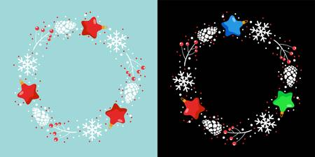 vector christmas holiday design with red star christmas decoration, snowflake, pine tree cones and red berries. Ilustração