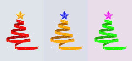 Christmas holiday  for greeting cards with trees made of red, yellow and green ribbon, stars and snow. Imagens - 130951919