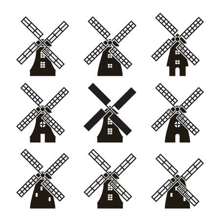 Set of black and white windmill icons isolated on white