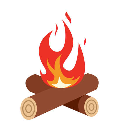 Campfire icon isolated on white