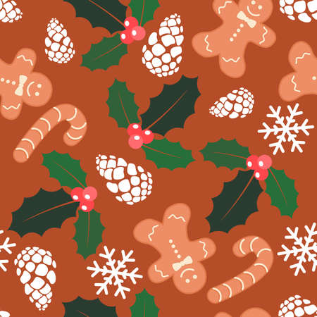 Seamless christmas   with gingerbread cookies, pine cones, snowflakes, red berries with green leaves.