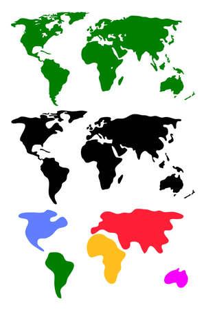 Set of abstract world maps isolated on white Ilustração