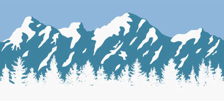 Abstract blue and white panorama of nature landscape with evergreen coniferous trees and mountain silhouettes.