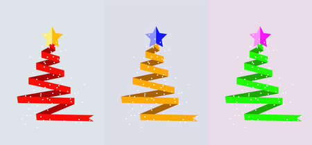 Christmas holiday  for greeting cards with trees made of red, yellow and green ribbon, stars and snow.