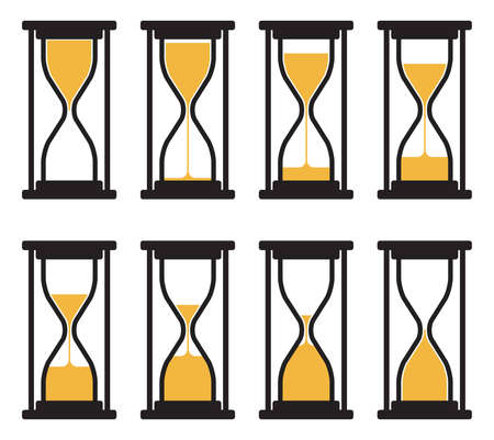 Collection of abstract hourglass clock symbols isolated on white Imagens - 130951932