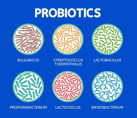 Abstract bacteriology icons isolated on blue Illustration
