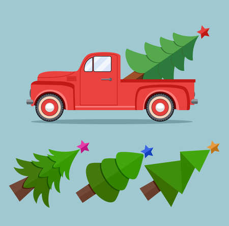 Old red car with holiday fir tree and set of extra trees for retro cards, happy new year and merry christmas