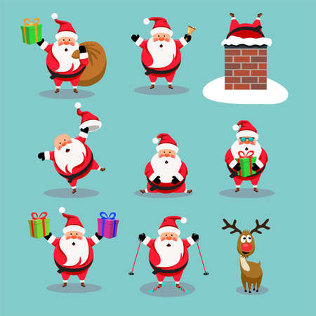 Christmas collection of cute cartoons of santa claus and red nosed reindeer, rudolph. Imagens - 130951938