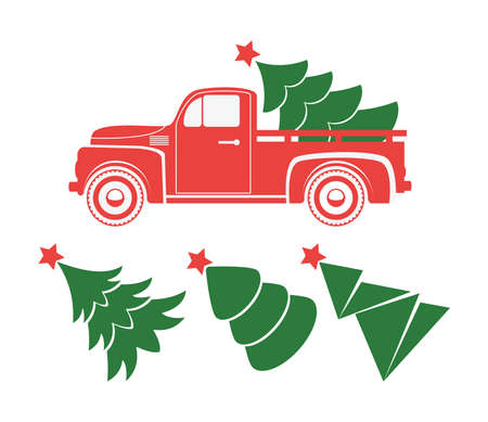 vector vintage pickup truck delivery of christmas tree. old red car with holiday fir tree and set of extra trees for retro cards, happy new year and merry christmas illustrations. red retro truck Stock Vector - 132994494