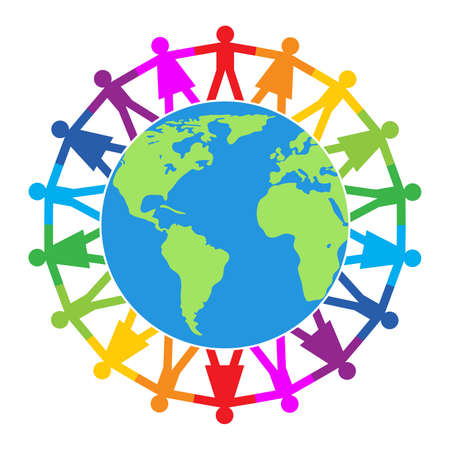 Colorful of people around the world, peace, friendship or travel concept.