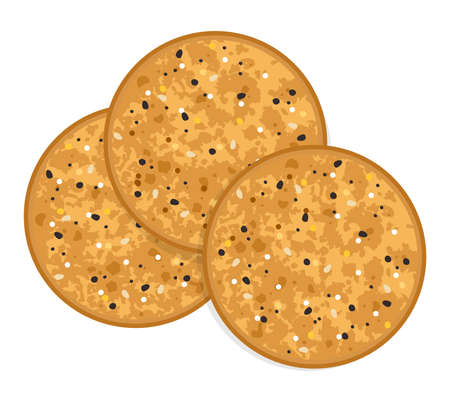 vector baked round cracker chips. top view of brown multi grain cheese crackers isolated on white background. eps10 illustration