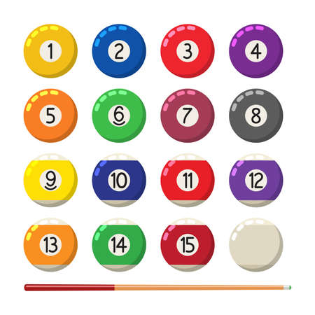 vector collection of billiard pool or snooker balls with numbers and cue isolated on white background, flat ball symbol, eps10 illustration