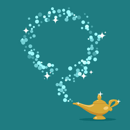 vector genie magic aladdin lamp with blue smoke as a copy-space. alladin golden lantern and smoke with sparkles. mystical metal lamp symbol