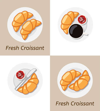 vector drawing of croissants and plate icons. french food breakfast pastry symbol with fresh croissant text. bakery design on round plate background with knife, fruit jam cup and cup of coffee or tea Vettoriali