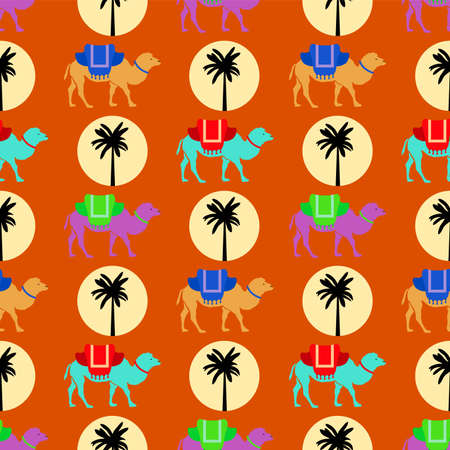 Seamless pattern with camels, sun and palm tree. Ilustração