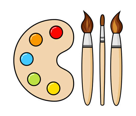 vector wooden art palette with blobs of paint and brushes isolated on white background. artist paint palette and paintbrushes icon. colorful flat illustration. collection of three types of brushes