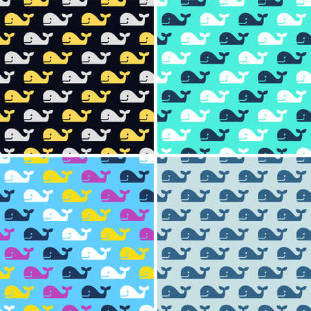 Set of whale fish seamless patterns.
