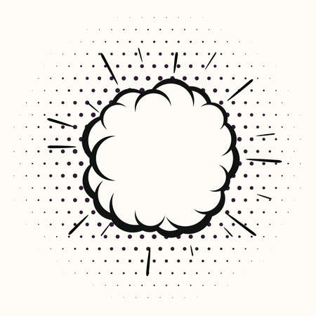 vector comic explosion isolated on white background. cartoon bubble blast illustration with halftone pattern. boom sound effect  icon. comic book explosion drawing with copy-space for your text Ilustração