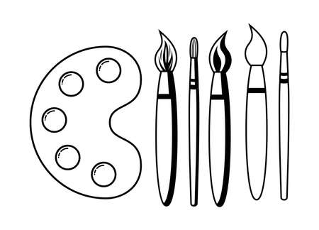 vector black and white flat illustration of wooden art palette with blobs of paint and brushes isolated on white background. artist paint palette and paintbrushes icon. collection of five brushes