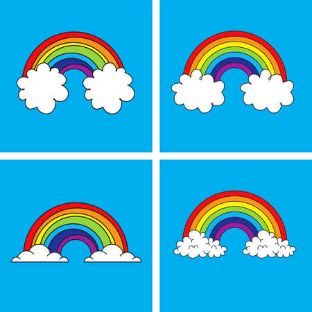 vector symbol of rainbow and clouds in the blue sky. colorful drawing collection  of weather backgrounds. bright rainbow behind clouds cartoon Ilustração