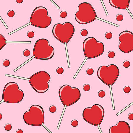 vector seamless background with red lollipop candies in the form of hearts on pink background. love, romantic or valentine day seamless pattern