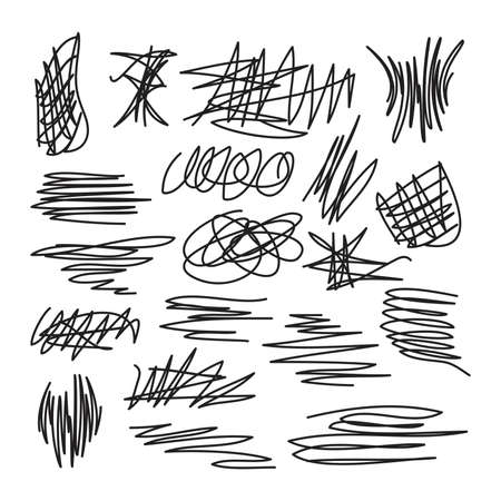 vector set of scribble abstract drawings. marker or pen thin line graphic.collection of grunge design textures with scribbles. pencil scratch doodles. different line stroke shapes