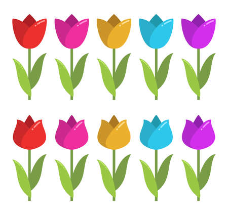 vector set of colorful tulip graphic drawings isolated on white background. beautiful tulips for decorative design. flat graphic style