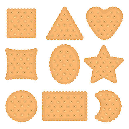 vector set of cracker chips of various shapes. top view of cheese crackers isolated on white background. crispy cracker cookie