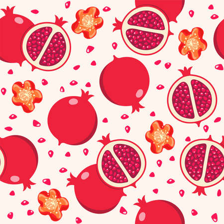 vector seamless pomegranate background pattern with whole and cut pomegranates and pomegranate flowers and seeds