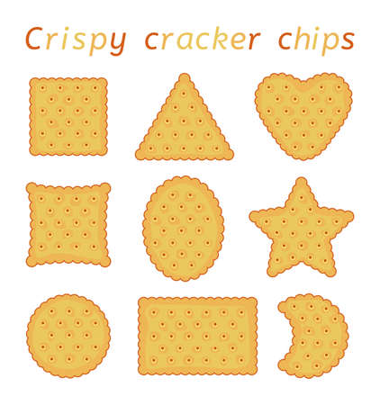 vector set of baked cracker chips with wavy edges. top view of cheese crackers of different shapes: round,  rectangle, ellipse, square, triangle, hear and star isolated on white background Ilustração