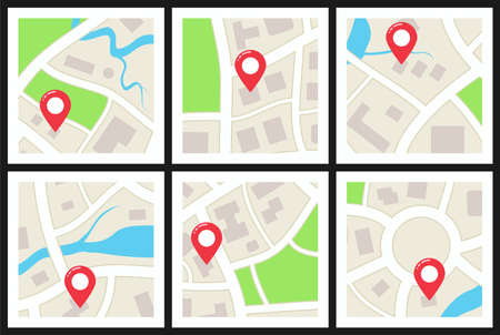 vector set of city maps with symbols of streets, houses, parks, lakes, rivers and navigation pins. graphic illustration of city map icons isolated on white background Ilustração