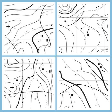 vector abstract map pattern with wavy lines. black and white topographic line contours. set of simple map topography design symbols Ilustração